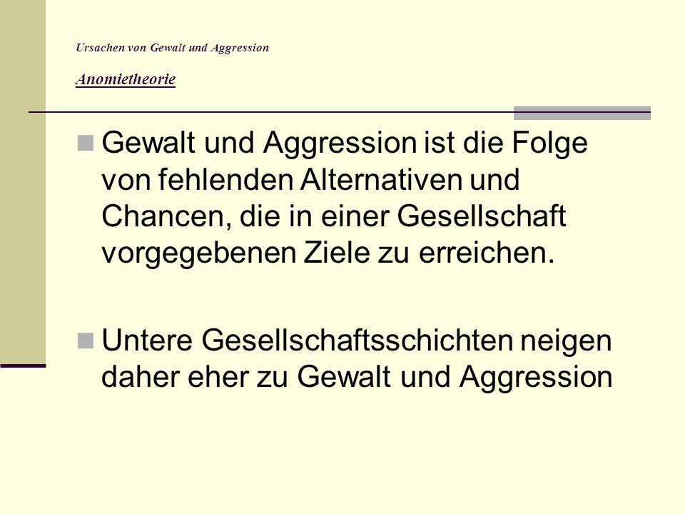 Ursachen von Gewalt und Aggression Anomietheorie Gewalt und Aggression ist die Folge von fehlenden Alternativen und Chancen, die in einer Gesellschaft