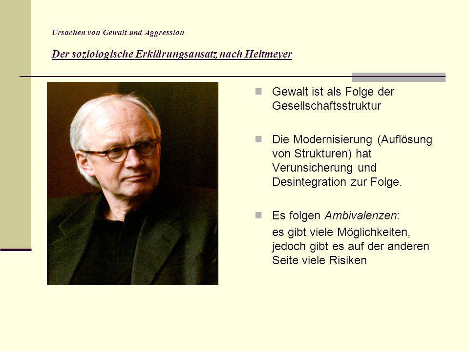 Ursachen von Gewalt und Aggression Der soziologische Erklärungsansatz nach Heitmeyer Gewalt ist als Folge der Gesellschaftsstruktur Die Modernisierung