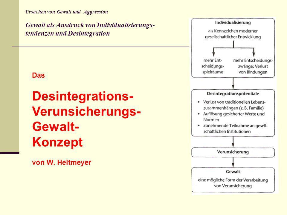 Ursachen von Gewalt und Aggression Gewalt als Ausdruck von Individualisierungs- tendenzen und Desintegration Das Desintegrations- Verunsicherungs- Gew