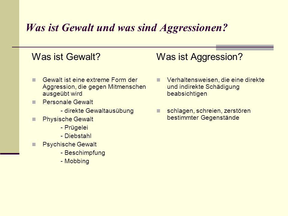 Was ist Gewalt und was sind Aggressionen? Was ist Gewalt? Gewalt ist eine extreme Form der Aggression, die gegen Mitmenschen ausgeübt wird Personale G