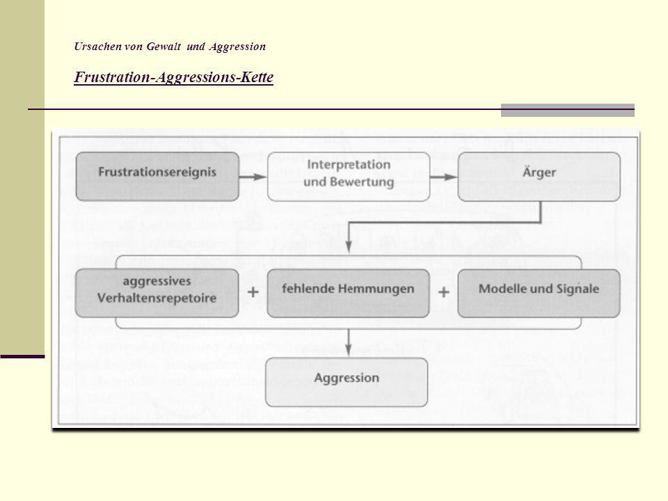 Ursachen von Gewalt und Aggression Frustration-Aggressions-Kette