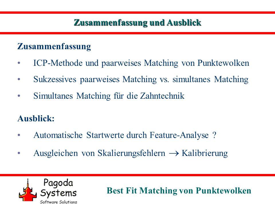 Best Fit Matching von Punktewolken Zusammenfassung und Ausblick Zusammenfassung ICP-Methode und paarweises Matching von Punktewolken Sukzessives paarweises Matching vs.