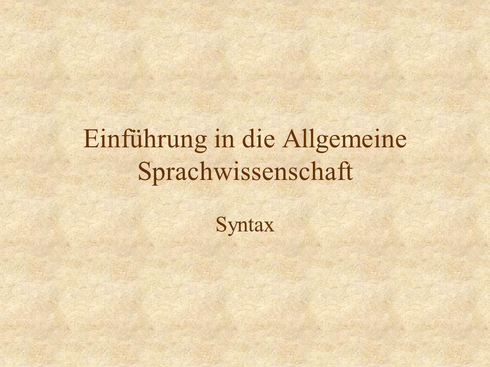 Einführung in die Allgemeine Sprachwissenschaft Syntax