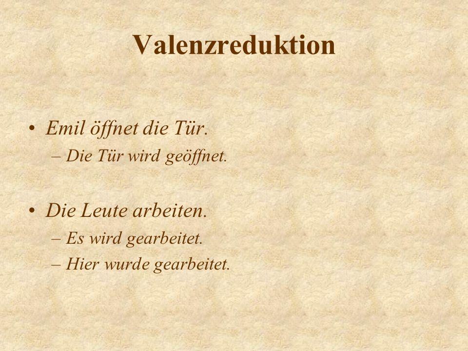 Valenzreduktion Emil öffnet die Tür.–Die Tür wird geöffnet.