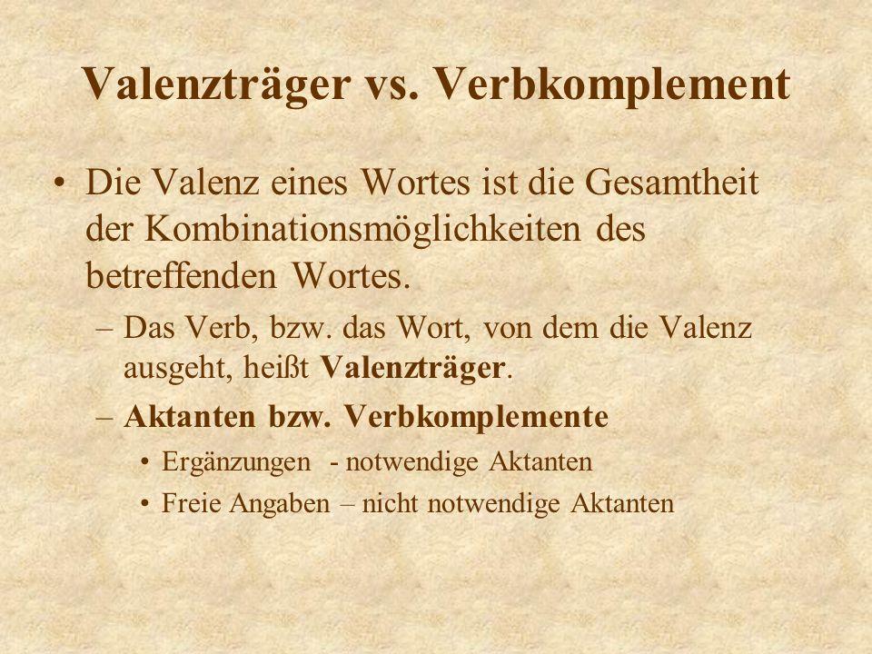 Valenz Valenzträger - die Verben, die durch Ergänzungen und (freie) Angaben erweitert werden können.