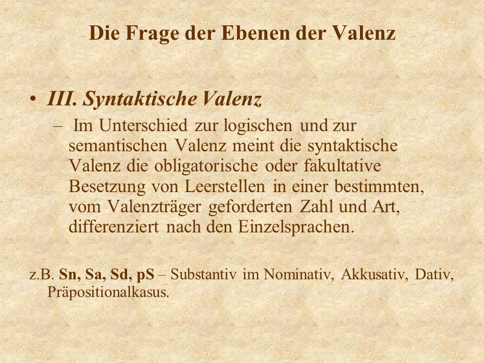 Die Frage der Ebenen der Valenz III. Syntaktische Valenz – Im Unterschied zur logischen und zur semantischen Valenz meint die syntaktische Valenz die