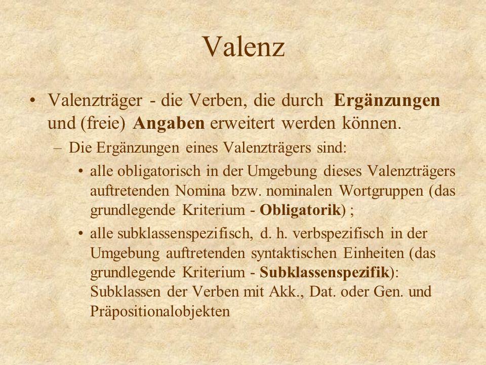 Valenz Valenzträger - die Verben, die durch Ergänzungen und (freie) Angaben erweitert werden können. –Die Ergänzungen eines Valenzträgers sind: alle o