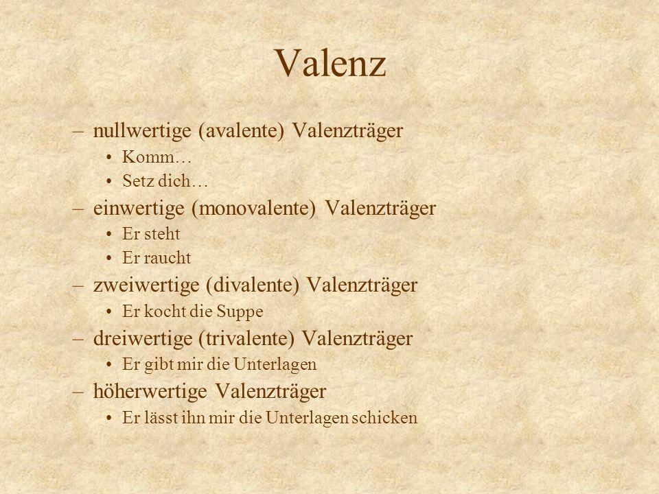 Valenz –nullwertige (avalente) Valenzträger Komm… Setz dich… –einwertige (monovalente) Valenzträger Er steht Er raucht –zweiwertige (divalente) Valenz