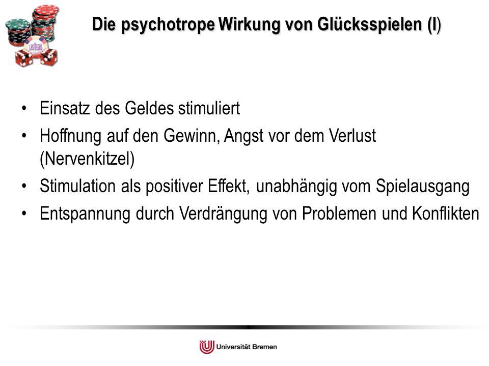Die psychotrope Wirkung von Glücksspielen (I ) Die psychotrope Wirkung von Glücksspielen (I ) Einsatz des Geldes stimuliert Hoffnung auf den Gewinn, Angst vor dem Verlust (Nervenkitzel) Stimulation als positiver Effekt, unabhängig vom Spielausgang Entspannung durch Verdrängung von Problemen und Konflikten