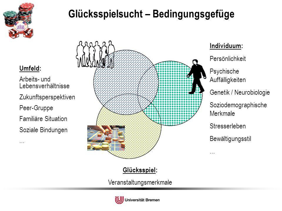 Individuum: Persönlichkeit Psychische Auffälligkeiten Genetik / Neurobiologie Soziodemographische Merkmale Stresserleben Bewältigungsstil... Glücksspi