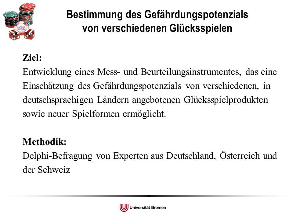 Ziel: Entwicklung eines Mess- und Beurteilungsinstrumentes, das eine Einschätzung des Gefährdungspotenzials von verschiedenen, in deutschsprachigen Ländern angebotenen Glücksspielprodukten sowie neuer Spielformen ermöglicht.
