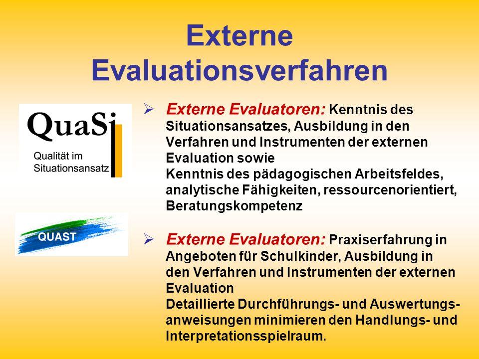 Externe Evaluationsverfahren Externe Evaluatoren: Kenntnis des Situationsansatzes, Ausbildung in den Verfahren und Instrumenten der externen Evaluatio
