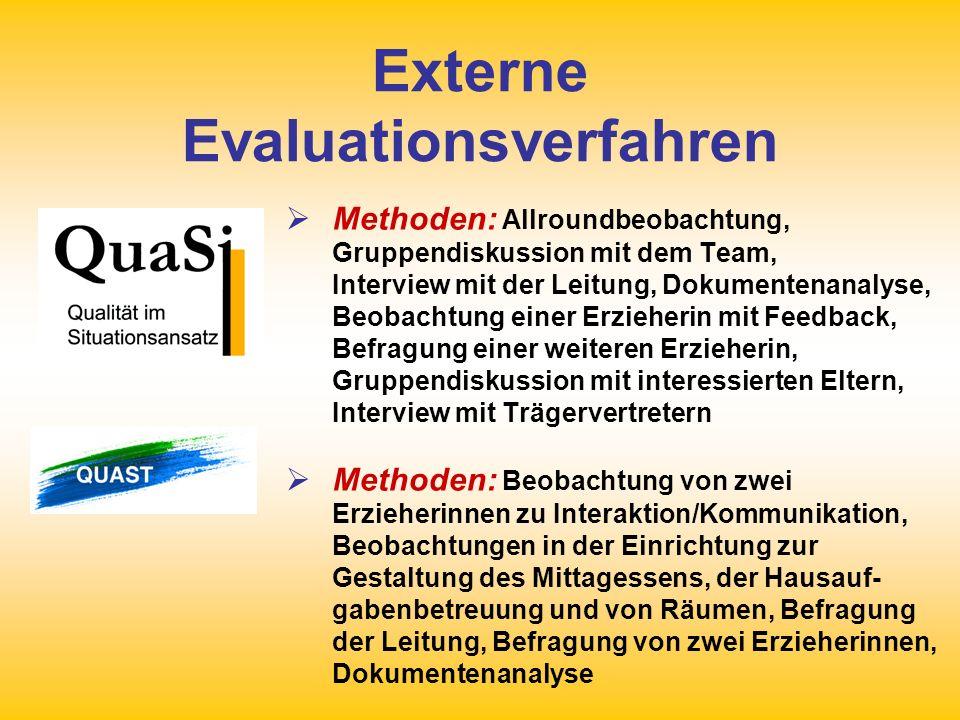 Externe Evaluationsverfahren Auswertung: Schriftlicher Auswertungs- bericht mit konkreten Empfehlungen zur weiteren Qualitätsentwicklung, Auswertungs- gespräch mit Team, Leitung, Eltern- und Trägervertretern, Qualitätsvereinbarung.