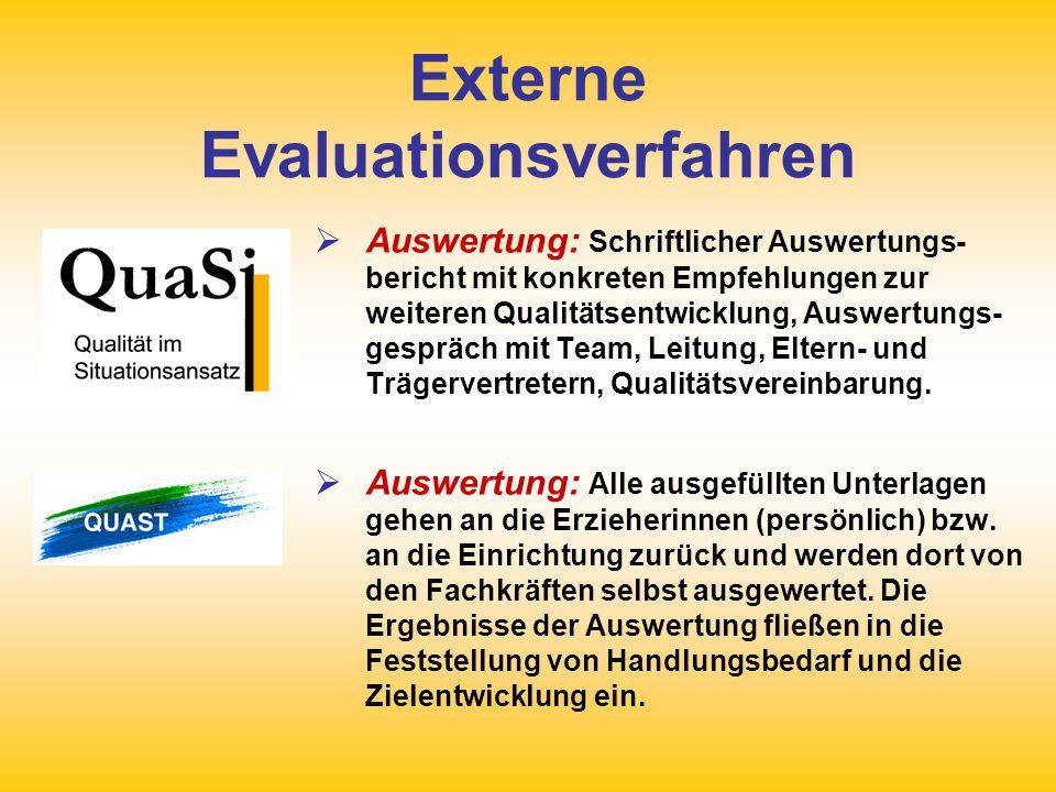 Externe Evaluationsverfahren Auswertung: Schriftlicher Auswertungs- bericht mit konkreten Empfehlungen zur weiteren Qualitätsentwicklung, Auswertungs-