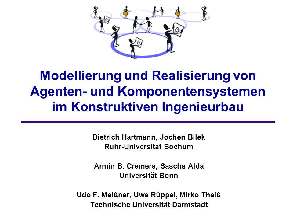 32 Sascha Alda, Jochen Bilek, Mirko Theiß Agentensysteme in den Projekten Projekt Darmstadt: - Agentensystem SEMOA 1 - Agentensystem JADE 2 - 100% FIPA konform Projekt Bochum: - Agentensystem LARS 3 - stark an FIPA angelehnt Projekt Bonn: - Agentensystem HIVE 4 - stark an FIPA angelehnt 1 Secure Mobile Agents Project 2 Java Agent Development Environment 3 Living Agents Runtime System 4 engl.: Schwarm MASDF AMS Implementierung von MTS-Agenten Funktion als Messagerouter Nachrichtenkonvertierung ACL