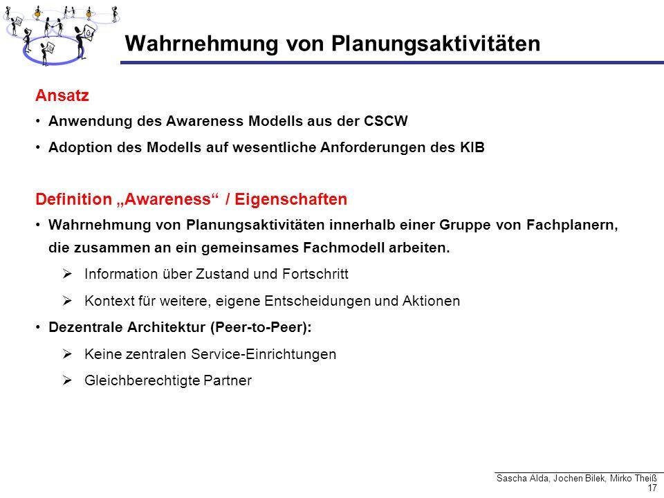 17 Sascha Alda, Jochen Bilek, Mirko Theiß Wahrnehmung von Planungsaktivitäten Ansatz Anwendung des Awareness Modells aus der CSCW Adoption des Modells