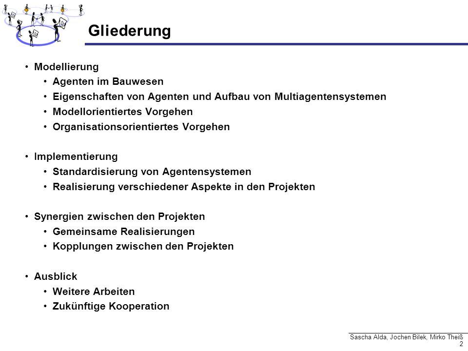2 Sascha Alda, Jochen Bilek, Mirko Theiß Gliederung Modellierung Agenten im Bauwesen Eigenschaften von Agenten und Aufbau von Multiagentensystemen Mod