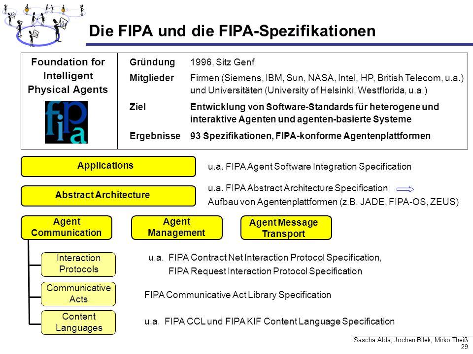 29 Sascha Alda, Jochen Bilek, Mirko Theiß Die FIPA und die FIPA-Spezifikationen Gründung1996, Sitz Genf Mitglieder Firmen (Siemens, IBM, Sun, NASA, In