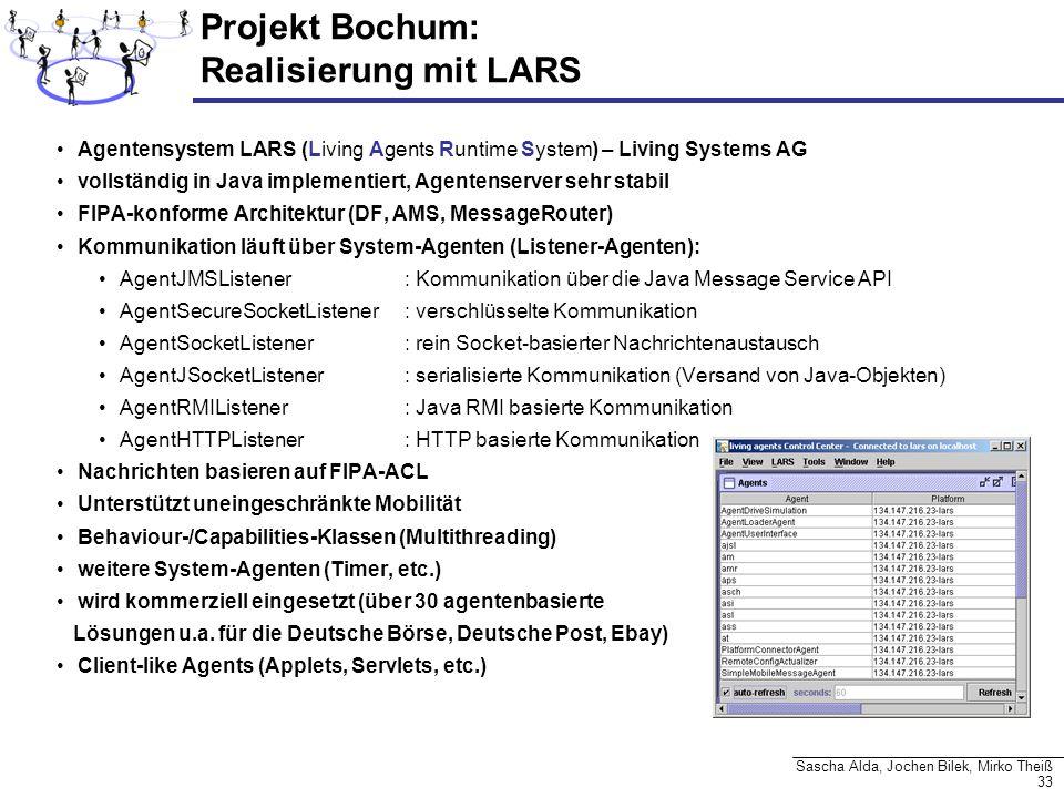 33 Sascha Alda, Jochen Bilek, Mirko Theiß Projekt Bochum: Realisierung mit LARS Agentensystem LARS (Living Agents Runtime System) – Living Systems AG