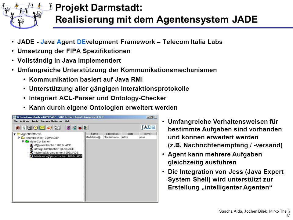 37 Sascha Alda, Jochen Bilek, Mirko Theiß JADE - Java Agent DEvelopment Framework – Telecom Italia Labs Umsetzung der FIPA Spezifikationen Vollständig