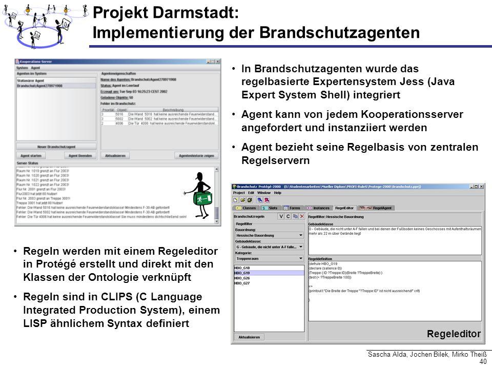 40 Sascha Alda, Jochen Bilek, Mirko Theiß Projekt Darmstadt: Implementierung der Brandschutzagenten In Brandschutzagenten wurde das regelbasierte Expe