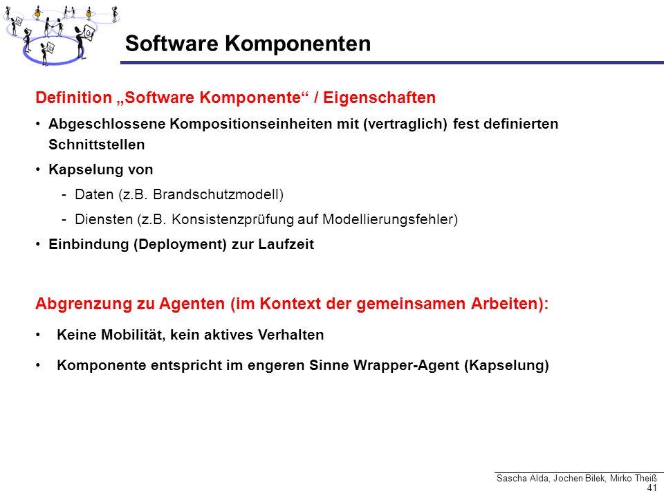 41 Sascha Alda, Jochen Bilek, Mirko Theiß Software Komponenten Definition Software Komponente / Eigenschaften Abgeschlossene Kompositionseinheiten mit