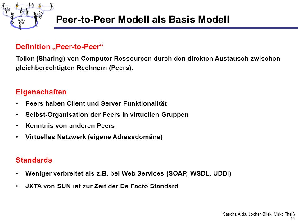 44 Sascha Alda, Jochen Bilek, Mirko Theiß Peer-to-Peer Modell als Basis Modell Definition Peer-to-Peer Teilen (Sharing) von Computer Ressourcen durch