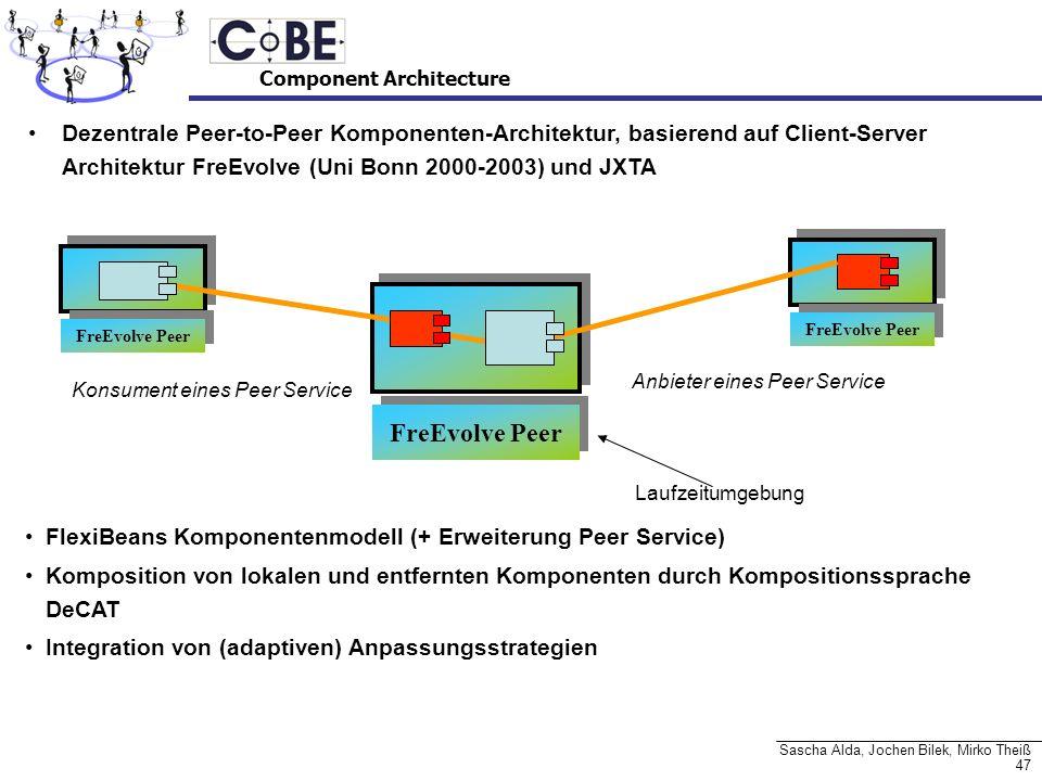47 Sascha Alda, Jochen Bilek, Mirko Theiß Dezentrale Peer-to-Peer Komponenten-Architektur, basierend auf Client-Server Architektur FreEvolve (Uni Bonn