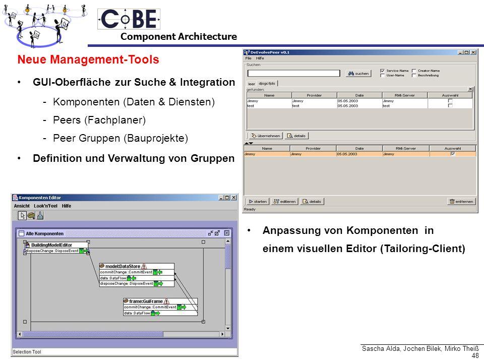 48 Sascha Alda, Jochen Bilek, Mirko Theiß Neue Management-Tools GUI-Oberfläche zur Suche & Integration -Komponenten (Daten & Diensten) -Peers (Fachpla