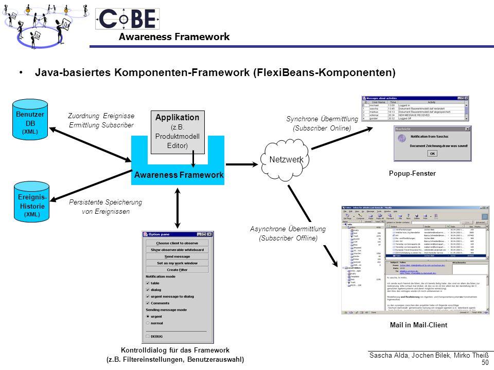50 Sascha Alda, Jochen Bilek, Mirko Theiß Awareness Framework Java-basiertes Komponenten-Framework (FlexiBeans-Komponenten) Awareness Framework Applik