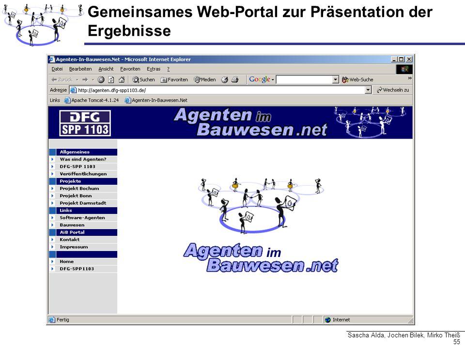 55 Sascha Alda, Jochen Bilek, Mirko Theiß Gemeinsames Web-Portal zur Präsentation der Ergebnisse