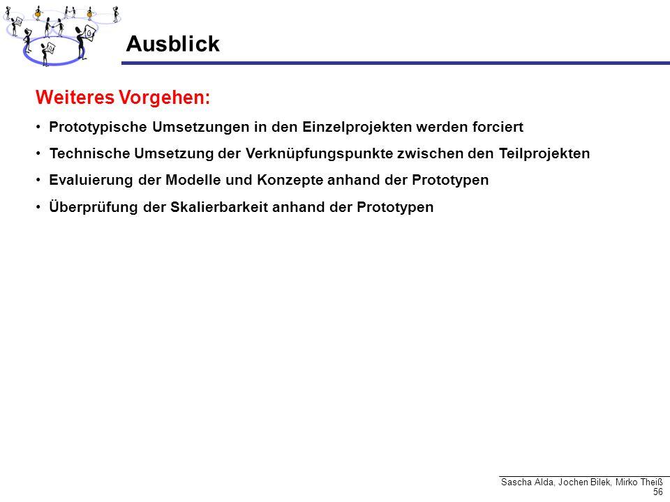 56 Sascha Alda, Jochen Bilek, Mirko Theiß Ausblick Weiteres Vorgehen: Prototypische Umsetzungen in den Einzelprojekten werden forciert Technische Umse