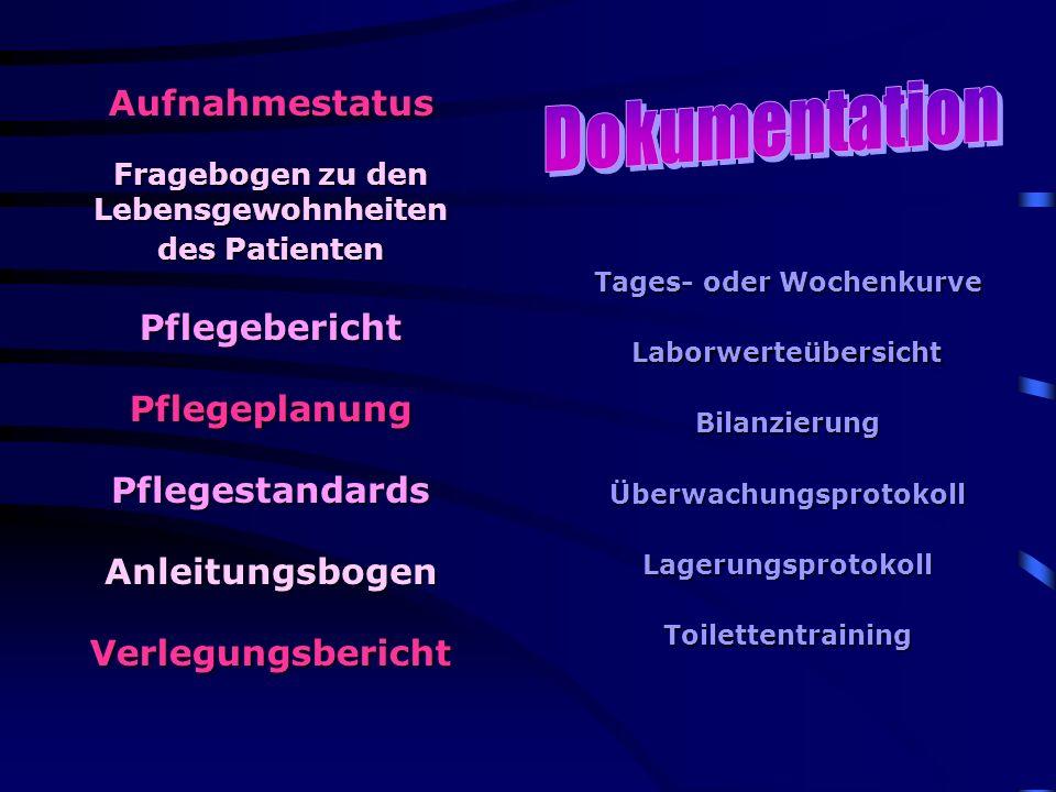 Aufnahmestatus Fragebogen zu den Lebensgewohnheiten des Patienten Tages- oder Wochenkurve Anleitungsbogen Pflegebericht Pflegestandards Bilanzierung L