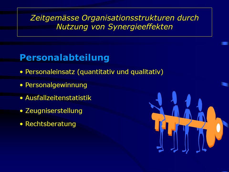 Zeitgemässe Organisationsstrukturen durch Nutzung von Synergieeffekten Personalabteilung Personalgewinnung Personaleinsatz (quantitativ und qualitativ