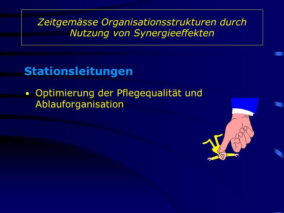 Zeitgemässe Organisationsstrukturen durch Nutzung von Synergieeffekten Stationsleitungen Optimierung der Pflegequalität und Ablauforganisation