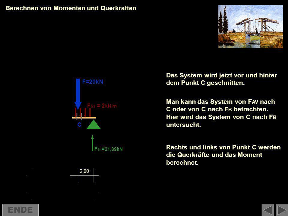 Berechnen von Momenten und Querkräften Das System wird jetzt vor und hinter dem Punkt C geschnitten. Man kann das System von F AV nach C oder von C na
