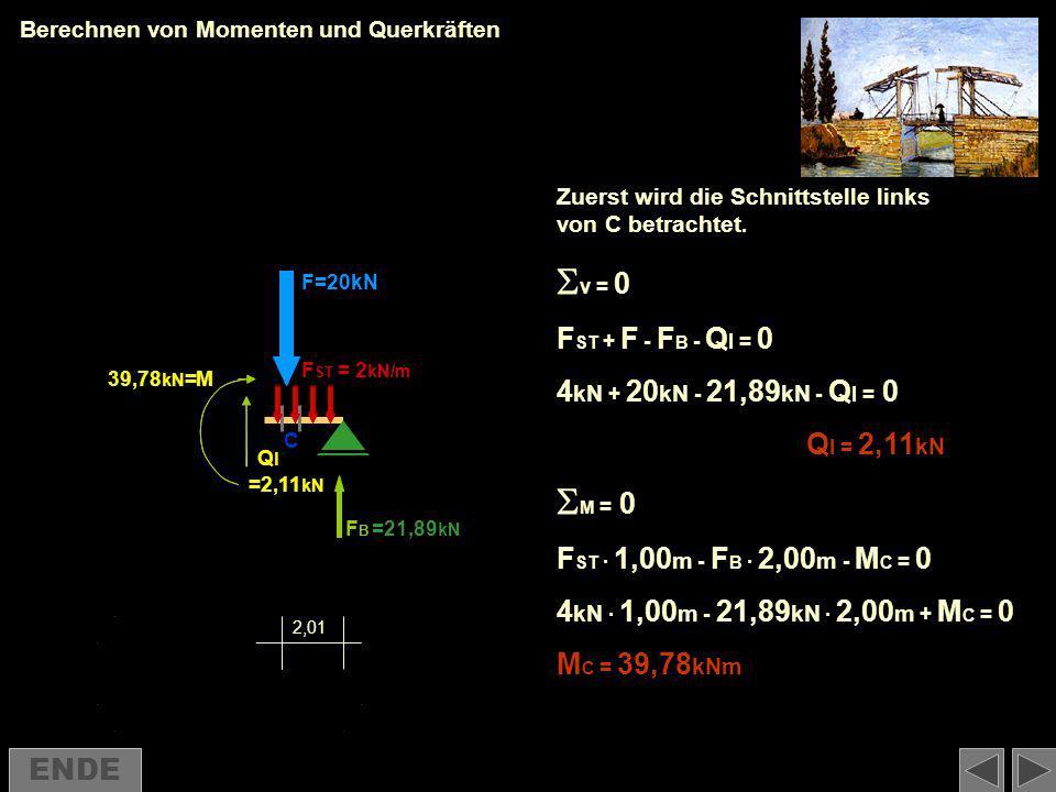 Berechnen von Momenten und Querkräften Zuerst wird die Schnittstelle links von C betrachtet. F ST + F - F B - Q l = 0 4 kN + 20 kN - 21,89 kN - Q l =