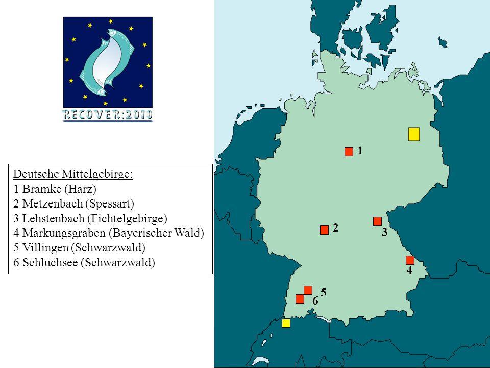 Deutsche Mittelgebirge: 1 Bramke (Harz) 2 Metzenbach (Spessart) 3 Lehstenbach (Fichtelgebirge) 4 Markungsgraben (Bayerischer Wald) 5 Villingen (Schwarzwald) 6 Schluchsee (Schwarzwald) 1 6 4 3 2 5