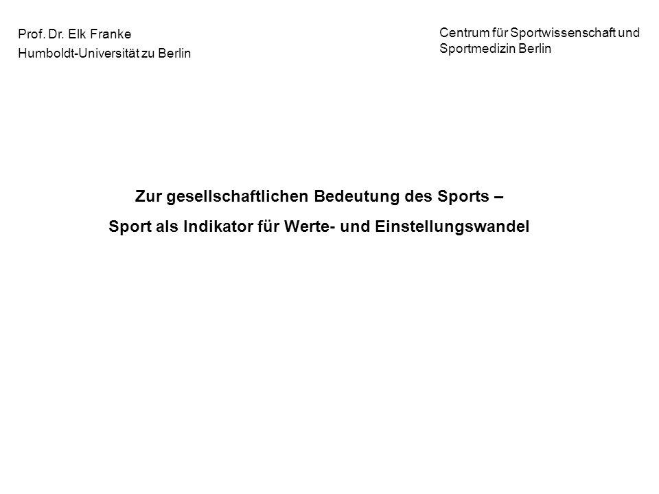 Prof. Dr. Elk Franke Humboldt-Universität zu Berlin Centrum für Sportwissenschaft und Sportmedizin Berlin Zur gesellschaftlichen Bedeutung des Sports