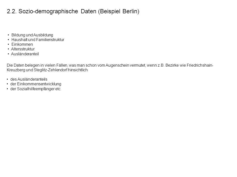 2.2. Sozio-demographische Daten (Beispiel Berlin) Bildung und Ausbildung Haushalt und Familienstruktur Einkommen Altersstruktur Ausländeranteil Die Da