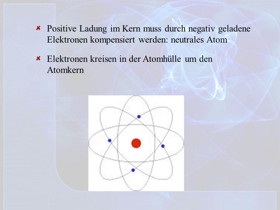 Positive Ladung im Kern muss durch negativ geladene Elektronen kompensiert werden: neutrales Atom Elektronen kreisen in der Atomhülle um den Atomkern