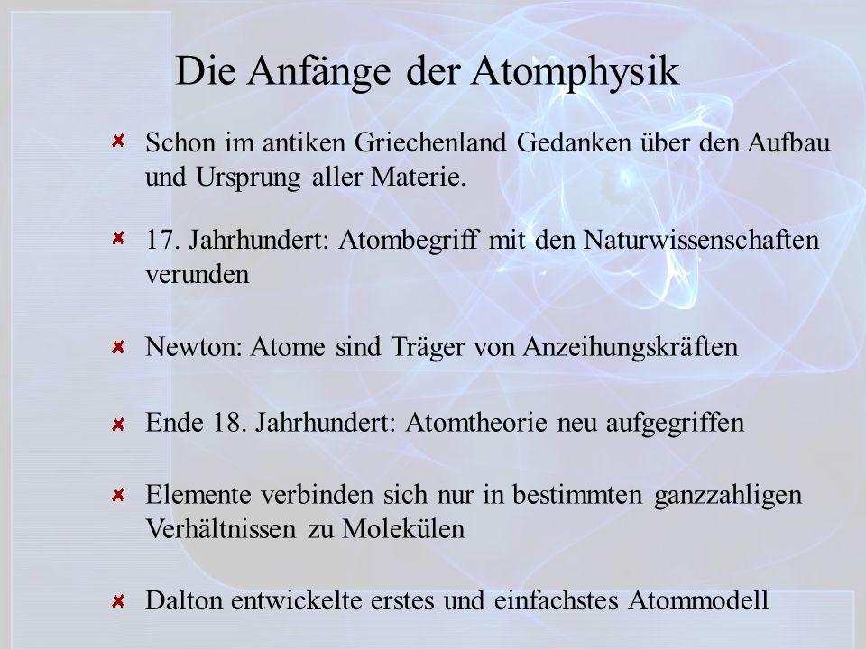 Die Anfänge der Atomphysik Schon im antiken Griechenland Gedanken über den Aufbau und Ursprung aller Materie. 17. Jahrhundert: Atombegriff mit den Nat