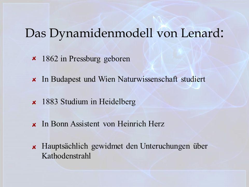 Das Dynamidenmodell von Lenard : 1862 in Pressburg geboren In Budapest und Wien Naturwissenschaft studiert 1883 Studium in Heidelberg In Bonn Assisten