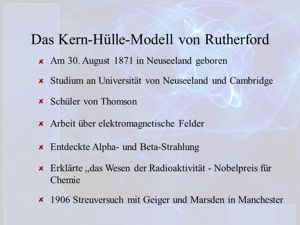 Das Kern-Hülle-Modell von Rutherford Am 30. August 1871 in Neuseeland geboren Studium an Universität von Neuseeland und Cambridge Schüler von Thomson