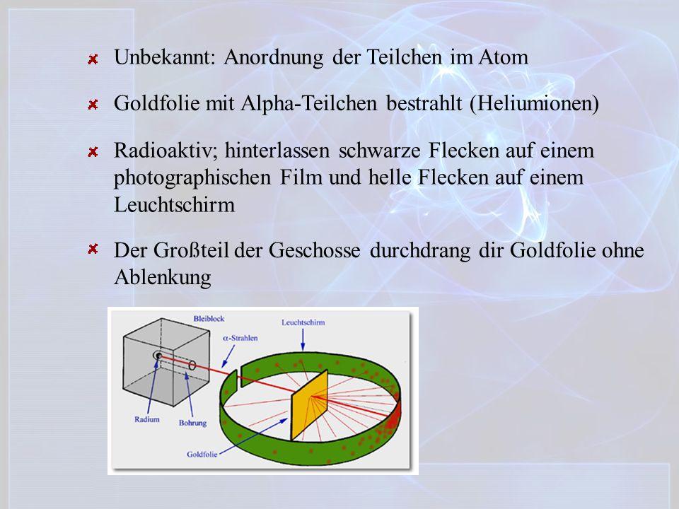 Unbekannt: Anordnung der Teilchen im Atom Goldfolie mit Alpha-Teilchen bestrahlt (Heliumionen) Radioaktiv; hinterlassen schwarze Flecken auf einem pho