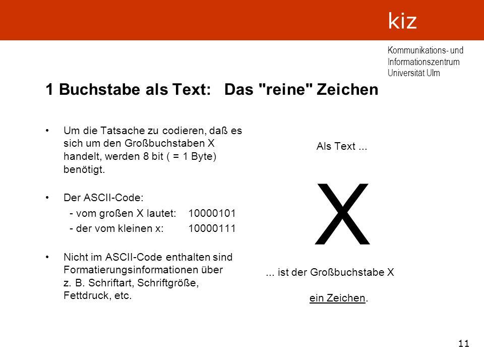 11 Kommunikations- und Informationszentrum Universität Ulm kiz 1 Buchstabe als Text: Das