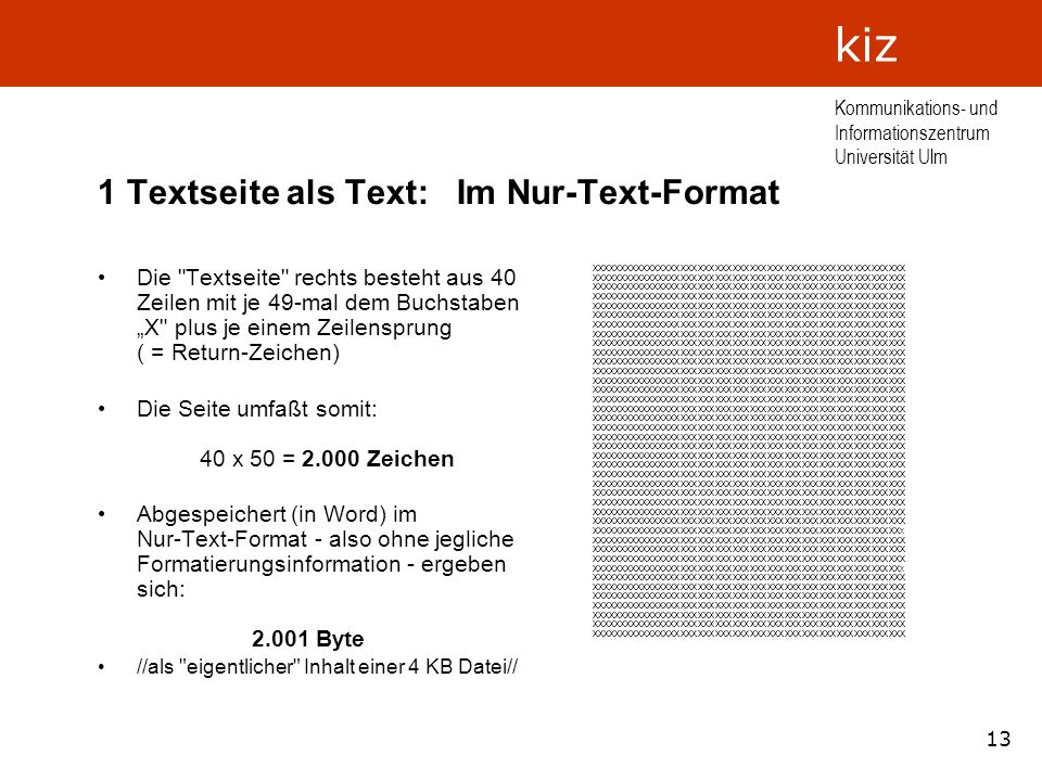 13 Kommunikations- und Informationszentrum Universität Ulm kiz 1 Textseite als Text: Im Nur-Text-Format Die