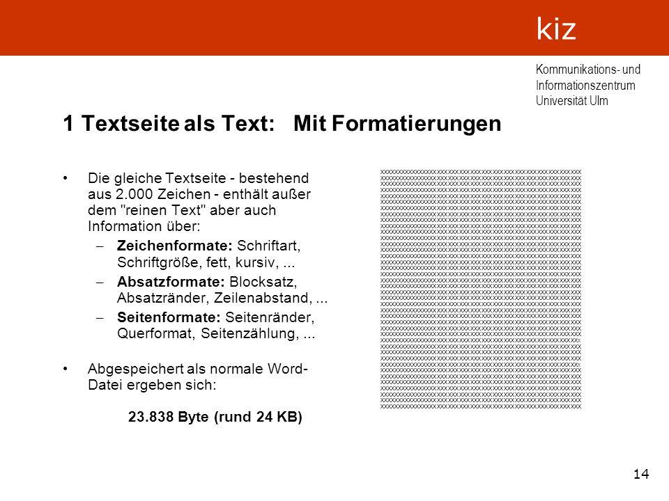 14 Kommunikations- und Informationszentrum Universität Ulm kiz 1 Textseite als Text: Mit Formatierungen Die gleiche Textseite - bestehend aus 2.000 Ze