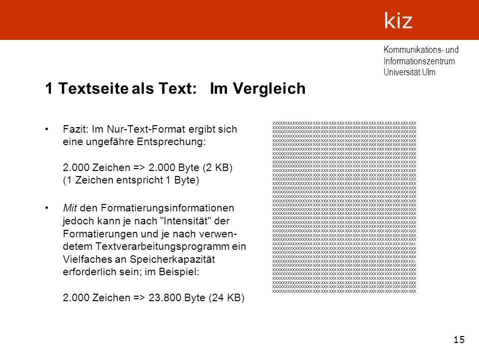 15 Kommunikations- und Informationszentrum Universität Ulm kiz 1 Textseite als Text: Im Vergleich Fazit: Im Nur-Text-Format ergibt sich eine ungefähre
