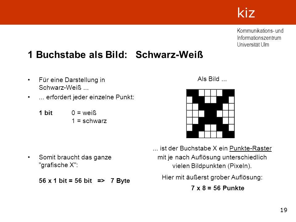 19 Kommunikations- und Informationszentrum Universität Ulm kiz 1 Buchstabe als Bild: Schwarz-Weiß Für eine Darstellung in Schwarz-Weiß...... erfordert